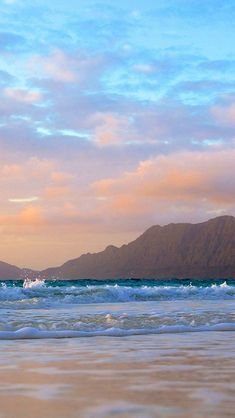 Mountains Background Beach Waves #iPhone #5s #Wallpaper