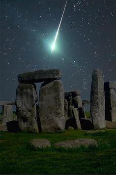 Meteorite flying over Stonehenge
