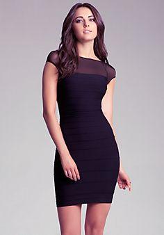 Black Sheer Mesh Shoulder Dress. Bebe 2014