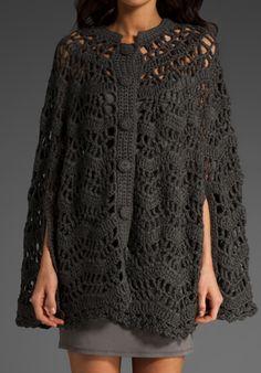 Crochetemoda: Poncho em Crochet Chumbo