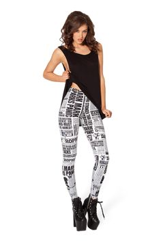 WANT: Daily Prophet (Harry Potter) leggings (to be worn under a tunic or a skirt/dress as LEGGINGS ARE NOT PANTS).