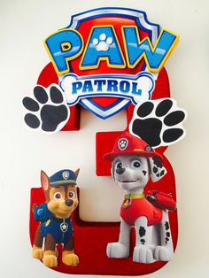 Paw Patrol birthday number centerpieces by angilee123 on Etsy
