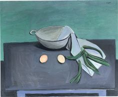 William Scott, Colander, Beans and Eggs, 1948, Oil on canvas, 66 × 81.3 cm / 26 × 32 in, Private collection