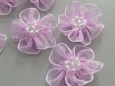 10 Lavender Organza Flower Appliques Glittering Bead by twpmango, $2.95