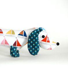 Nautical Nursery Decor Plush Wiener Dog by FriendsOfSocktopus, $28.00