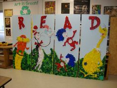 Amazing Dr. Seuss bottle cap mural- library could be perfect spot for our mural!