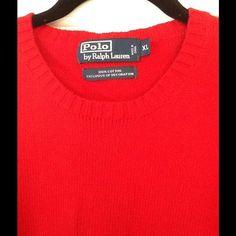 Men's Ralph Lauren Crew Neck Sweater size XL Beautiful bright red Ralph Lauren men's 100% cotton crew neck sweater. In great shape. No snags or tears. Size XL Ralph Lauren Sweaters