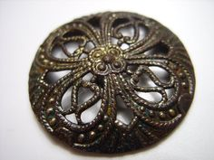 Vintage metal button floral antique supplies by FromEuropeWithLove
