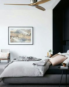 Black and white bedroom with a super cool ceiling fan i just got black and white bedroom with a super cool ceiling fan i just got a super cool fan but i like that one too deko pinterest ceiling fan ceilings aloadofball Choice Image