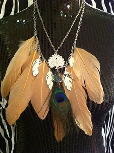Genuine peacock feathers, topaz crystal, and rhinestone pendants. Elegant and fun. And feathers are so in right now.