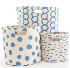 Dash and Albert French Blue Hamper/Bin in 3 Sizes <font color=a8bb35> NEW</font>
