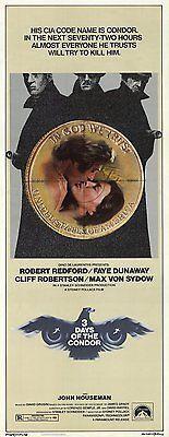 Three Days of The Condor Movie Poster 14x36 Insert Robert Redford Faye Dunaway | eBay