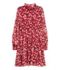 Crepet kjole | Mørkerød/Blomstret | Dame | H&M DK