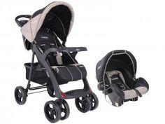 Carrinho de Bebê e Berço Passeio Cosco Lisboa - Reclinável 2 Posições + Bebê Conforto Kiddo