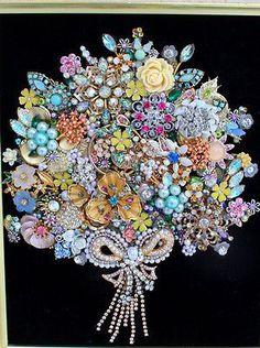 Antique Vintage Costume Jewelry Christmas Tree Framed Art Flower Bouquet Wedding