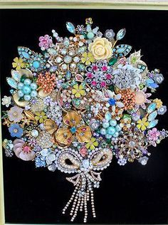 Antique Vintage Costume Jewelry Christmas Tree Framed Art Flower Bouquet Wedding