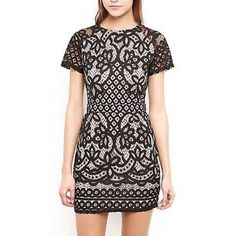 """FLASH SALE! Girl In Mind Black Lace Dress Stunning LBD. Black lace detail with nude underlay. Sleeves are just black lace, no underlay. Form fitted, gorgeous twist on what could be a simple piece but instead is all like ooh-la-la. Grab a martini by the balls (olives, natch…) and    get ready to do some serious dress wearin', cause there's really no way to not look like a knockout in this dress. Marked a size 8, but fits like a XS/S. NWT, priced at 45 Euro, thus $50.   Length: 32"""" Bust: 32""""…"""