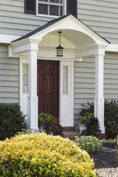 48 Cozy Front Porch Design And Decor Ideas That Looks Cool hauseingang 48 Cozy Front Porch Design And Decor Ideas That Looks Cool Portico Design, Door Overhang, House With Porch, House Entrance, House Exterior, Porch Roof, Front Porch Addition, Front Porch Design, Building A Porch