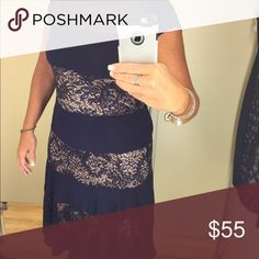 R&M Richards Navy lace dress with sequins💙 Lovely navy blue dress with attached nude slip. Top is sheer The lace panels have sequins.  Worn once for a couple hours. In like new condition. More pics added  ‼💙 R&M richards Dresses Midi