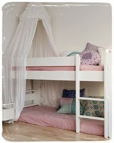 thinking this layout for their beds..raise the lower a bit for sienna.