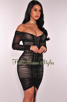 A total statement maker, refine your curves in the perfect black sheer mesh ruched dress. With a nude illusion lining that will leave the crowd wanting more, this smokin' hot dress is exactly what you've been waiting for. Bodycon Outfits, Sexy Outfits, Sexy Dresses, Nice Dresses, Fashion Outfits, Shift Dresses, Chica Punk, Hot Miami Styles, Embellished Gown