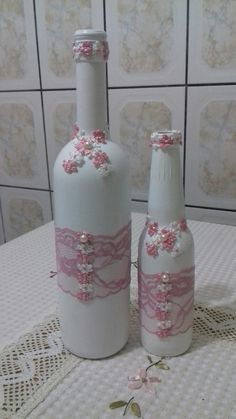 Bottles with flower #decoratedwinebottles #recycledwinebottles