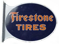 "21"" x 16"" Die Cut Double Sided Porcelain Flange Sign for Firestone Tires with excellent blue and orange logo. This sign is one of two in this auction and both have great gloss and appear as never used NOS with minor scuffs on the surface. Date Sold: 10/25/14"