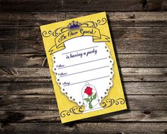 Beauty and the Beast Birthday Fill in the blank Invitation