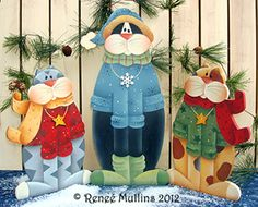 Winter Kitty Trio (Pattern Packet) Plum Purdy Designs - I wish I enjoyed painting as much as I do sewing! Pintura Country, Arte Country, Christmas Wood, Winter Christmas, Christmas Crafts, Christmas Ornaments, Handmade Christmas, Cat Crafts, Book Crafts