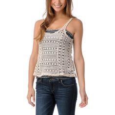 Element Girls Jamie Natural Crochet Tank Top