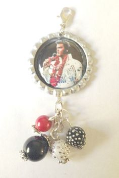 Elvis Presley Bottle Cap Charm by BUTTONSBADGESANDMORE on Etsy