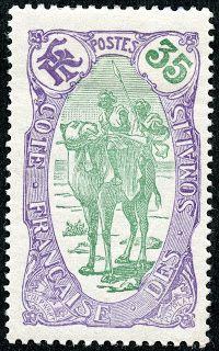 """Somali Coast (French Somaliland)  1909 Scott 72 35c violet & green  """"Somalis on Camel"""""""