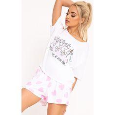 White Unicorn Heart Print PJ Set ($19) ❤ liked on Polyvore featuring intimates, sleepwear, pajamas, holiday pjs, unicorn sleepwear, unicorn pajamas, white pajama set and unicorn pyjamas