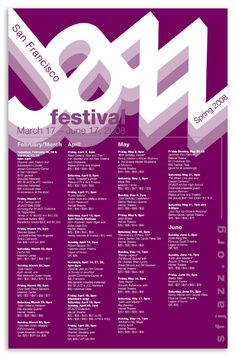 Jazz Festival Events Calendar - Nguyen Graphics --- Could be a good piece to refer to when creating an event calendar for 50 First Days.