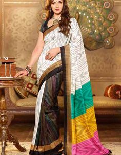 Buy designer art silk #sarees online at #craftshopsindia   #silksaree