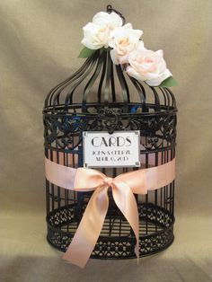 Wedding Card Box Bird Cage / Peach / Round / Vintage Style / Birdcage Wedding Card Holder via Etsy