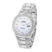 Custom Diamond Bezel Rolex Datejust Mens Watch 3ct