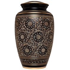 Funeral Urn by Liliane  Cremation Urn for Human Ashes  Hand Made in Brass and Hand Finished  Fits the Cremated Remains of Adults as Well as the ashes of dogs cats or other pets  Display Burial Urn at Home or in Niche at Columbarium Marguerites Urn in Black and Gold Design *** Want to know more, click on the image.