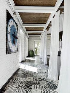 Patterned floor tiles black and white monochrome