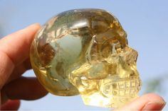 Tibetan Green Phantom Quartz Rock Crystal Skull