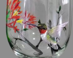 Hummingbird Wine Glass Hand Painted Flower Tree Summer Bird Unique Craftsman Stemware Nature Love Gift Source by etsy Wine Bottle Art, Hand Painted Wine Glasses, Wine Glass Set, Bottle Painting, Bar, Glass Art, Spring, Exotic Pets, Painted Birds