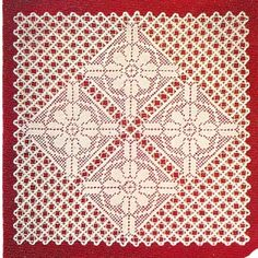 Here's a beautiful square of Filet Crochett - Flower Centerpiece Doily Pattern, Vintage 1940s