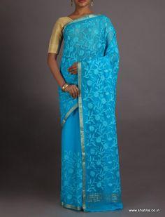 Neeta Blue Chikankari Inspired Pure #MysoreChiffonSaree