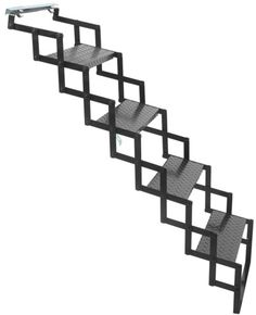 Brophy Camper Scissor Steps - 4 Steps - Steel - Diamond Tread - 18 Wide - 300 lbs Brophy RV and Camper Steps Loft Stairs, House Stairs, Home Stairs Design, Interior Design Living Room, House Design, Retractable Stairs, Camper Steps, Steps Design, Stair Railing