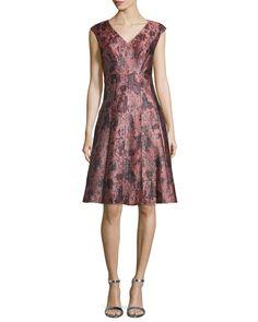 Sleeveless V-Neck Cocktail Dress, Copper (Brown) - Kay Unger New York