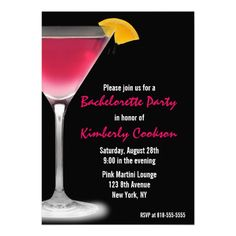 Hot Pink Martini Bachelorette Party Announcement