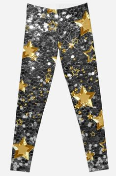 Gold Shiny Stars Silver Faux Glitter | Leggings