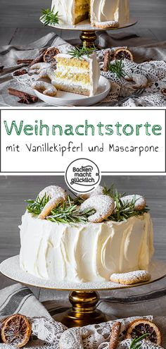 Weihnachtliche Vanillekipferl-Torte mit Mascarpone-Sahne The vanilla cake is a special cake dream for the Christmas season. This vanilla cake with mascarpone cream and a fruity insert is guaranteed to make an impression! Berry Smoothie Recipe, Easy Smoothie Recipes, Vanilla Biscuits, Cake Recipes, Dessert Recipes, Dessert Bowls, Baking Recipes, Coconut Milk Smoothie, Homemade Frappuccino