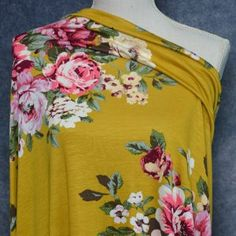 Rayon, Spandex 170 gsm wide Sold by the half meter. cm/approx 1 = meter 2 = 1 meter 3 = meters, etc. Mustard, Floral Tops, Spandex, Sewing, Fabric, Things To Sell, Women, Fashion, Tejido