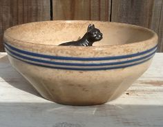 Antique Yelloware Bowl  TinButtons